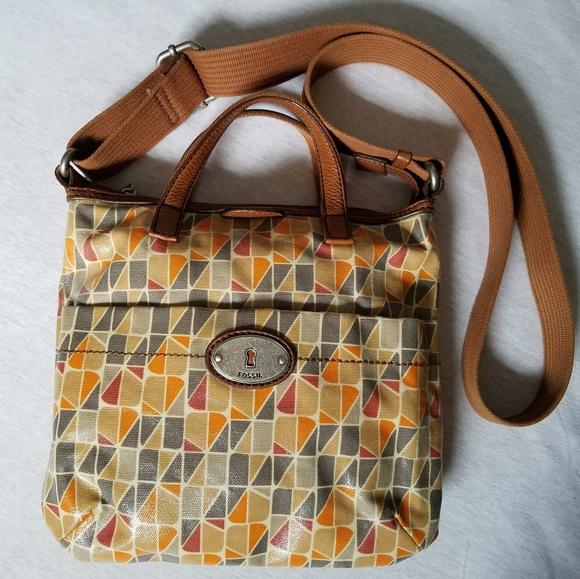 1bc3718de Fossil Handbags - Fossil crossbody shoulder bag coated canvas keyper
